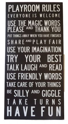 Playroom rules canvas by Babyology Christmas Gift Guide – decor for the playroom at the rents.