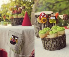 More woodland party inspiration.  I love the simple red gnome hats...those would be great in felt!
