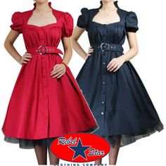 Belted Ruffle Dress Rockabilly Swing 50s 40s Retro Tattoo Pin Up Gothic Formal