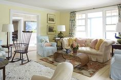 Cozy living room mixes modern and colonial style oh, so well.