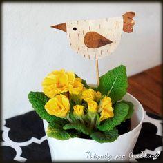 Jarní zápich z březové kůry Kids Crafts, Minis, Planter Pots, Spring, Preschools, Miniatures