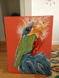 Sandi Pelican by artbylorilynn on Etsy Tropical Art, Tropical Paintings, Pelican Art, Watercolor Fish, Watercolor Ideas, Animal Paintings, Acrylic Paintings, Paint And Sip, Beach Art