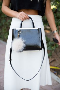 Fendi leather tote and fur monster charm