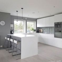 The dining room is always a place of enjoyment. Whether the everyday Breakfast w. Open Plan Kitchen Living Room, Kitchen Room Design, Modern Kitchen Design, Home Decor Kitchen, Interior Design Kitchen, Home Kitchens, Contemporary Kitchen Interior, Modern Kitchen Interiors, Contemporary Bedroom
