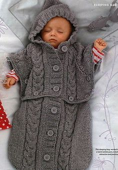 BABYS CABLED SLEEPING BAG KNITTING PATTERN - CHUNKY - TO FIT UP TO SIX MONTHS in Crafts, Crocheting & Knitting, Patterns | eBay