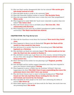 FREE -- Answer keys for the full set of reading check questions for the Nazi Officer's Wife. Click through to reach the full download, which includes Nazi Officer's Wife student worksheets for each chapter as well as these answer keys.