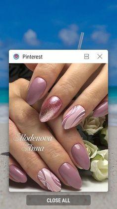 Acrylic Nail Tips, Summer Acrylic Nails, Cute Acrylic Nails, Cute Nails, Glitter French Nails, Rose Gold Nails, Pink Nails, Purple Nail Art, Pretty Nail Art