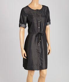 Loving this Black Drawstring Button-Up Dress on #zulily! #zulilyfinds