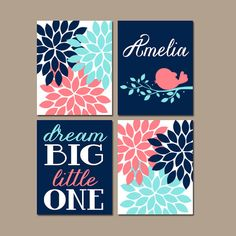 Coral Navy Nursery Wall Art Canvas or Prints Dream by TRMdesign