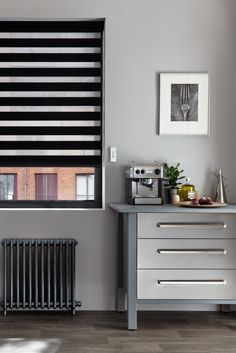 For monochrome colour schemes our cascade Jet Roller blind is the perfect addition. Featuring black opaque and sheer horizontal stripes its a great way to add interest to any room and create a strong statement. Made To Measure Blinds, Black Interiors, Monochrome Color, Roller Blinds, Colour Schemes, Shutters, Jet, Home Appliances, Stripes