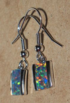 fire opal earrings gemstone silver jewelry chic modern cocktail dangle/drop MC4E #DropDangle