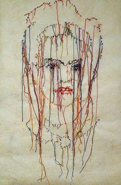 Frida embroidered art   unknown artist