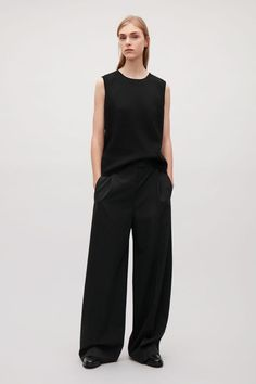 COS image 1 of Wool straight-leg trousers in Black