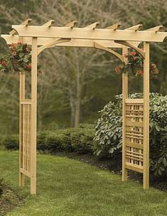 """Heritage Arbor    Wreathed in clematis or climbing roses, this well-proportioned Western red cedar pergola-style arbor will take your garden to new heights.     Adjustable width 36, 54 or 60 inches lets you fit it to your landscape.  Outside arch dimensions are 70"""" W x 32"""" D x 87"""" H overall at roof Inside arch opening is 77-1/4"""" H Width of arch is adjustable in three positions; inside opening will be 48-1/2"""", 54-1/2"""" or 60-1/2"""" W -- $599.00"""