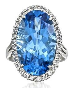 White & Blue Topaz Ring
