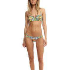 Mara Hoffman Stained Glass V Wire Bikini ($95) ❤ liked on Polyvore featuring swimwear, bikinis, women, halter neck bikini, low cut bikini, patterned bikini, mara hoffman swimwear and halter top bikini swimwear