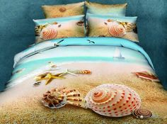 100% Cotton 3d Deep ocean Print Bedding Set Queen Size Duvet Cover Sheet Pillow Case Comforter Linen (Not Include Comforter), available on wish