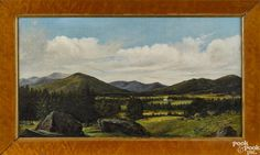 New York or New England oil on canvas landscape, 19th c., depicting a farm and a valley, 13'' x 23'' - Price Estimate: $400 - $700