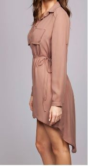 Mocha colored two pocket high low shirt/dress with tie belt to cinch at waist available now at Roc Me Out Online Boutique
