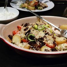 Gratinert kjøttdeig og poteter i form (kokkerikokkera)