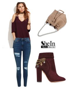 """""""SHEIN T-Shirt"""" by tania-alves ❤ liked on Polyvore featuring Topshop and Aquazzura"""
