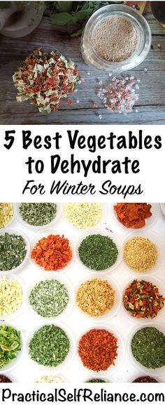 Best Vegetables To Dehydrate For Winter Soups Practical - Dehydrating Is One Of The Best Ways To Preserve Food For The Long Term It Requires Less Energy Than Canning Or Freezing And If Stored Properly Dehydrated Foods Will Last For Many Years Since The V Canning Food Preservation, Preserving Food, Konservierung Von Lebensmitteln, Comida Diy, Dehydrated Vegetables, Dehydrated Food Recipes, Dried Vegetables, Veggies, Canned Food Storage