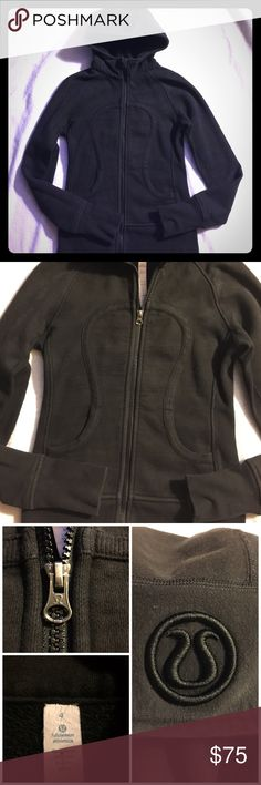 Lululemon Athletica size 4 Black Scuba Hoodie This has been worn, does show sign, fading a little, has thumbhole. Still looks super cute, and comfy! Disclaimer there are a few bleach marks on the back, one is toward the lower left and the other is located upper right corner. See 4th photo. Smoke and pet free. Recently laundered, and ready to go!! Price reflects the bleach marks. lululemon athletica Tops Sweatshirts & Hoodies
