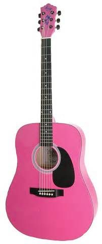 Hot pink acoustic gutair