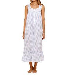 5367122dfb Eileen West Cotton Lawn Nightgown - Sleeveless Long in Ocean Drive (Medium  (10-12)