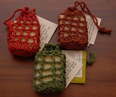 A quick and easy crochet project to make in less than 30 minutes. Slip a bar of your favorite soap inside or give it as a gift. Makes a great skin scrubber. Just hang it up by the cord to dry. Enjoy!