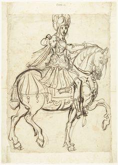 Veldheer te paard, rijdend naar rechts, Jacques Bellange, 1602-1620, pen in bruin, potlood, inkt