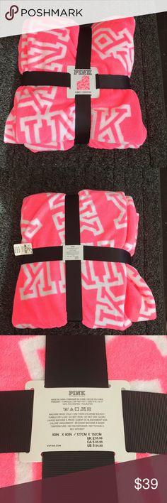 VS PINK blanket Super soft hot pink and white blanket. Perfect for the couch, end of bed, or as a cover on a dorm room bed. Makes a great gift too! Brand new! Bundle to save even more! PINK Other