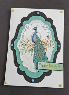 Oriental peacock from the Little Book of the Orient Hunkydory 7x5in white card