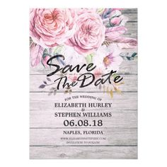 Wedding Save The Date Watercolor Floral Feather Card
