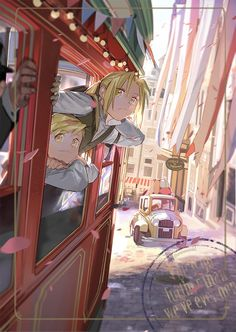 alphonse elric bangs blonde hair car city closed mouth collared shirt commentary day edward elric fullmetal alchemist ground vehicle hair between eyes holy pumpkin long hair long sleeves looking at viewer male focus motor vehicle multiple boys outdoo Fullmetal Alchemist Brotherhood, Fullmetal Alchemist Mustang, Fullmetal Alchemist Alphonse, Alphonse Elric, Full Metal Alchemist, Der Alchemist, Edward Elric, Manga Anime, Anime Art
