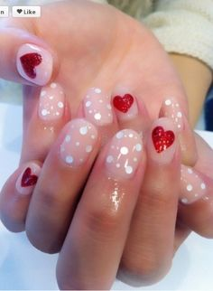 I've done this-nudey pink with red glitter hearts (for valentines day)