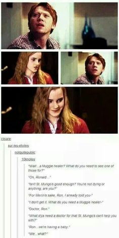 Life after Hogwarts-it's just the type of conversation they would have. But it would be better is hermione was with Fred and he didn't die Harry Potter World, Harry Potter Love, Harry Potter Universal, Harry Potter Fandom, Harry Potter Memes, Potter Facts, Fandoms, Dr Who, It's My Life