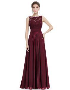 Gorgeous Round Neck Lace long Bridesmaid Party Dress Evening Dress