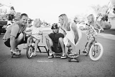 Skateboard & Bike Family Photo @Noelle Stransky Caruso Davis I'm seeing this as your family photo card for Christmas! :)