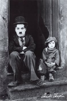 Charlie Chaplain and Jackie Coogan, two silent greats...