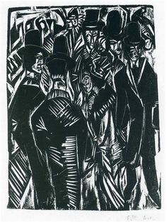 Street Scene: In Front of the Shop Window - Ernst Ludwig Kirchner