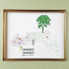 MASSACHUSETTS State MAP 8x10 Art Print State by turnofthecenturies