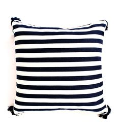 Cushion Navy + White Stripe Tassel - The Boathouse Group Navy And White, Tassels, Cushions, Throw Pillows, Boathouse, Group, Beach, Landscape Rake, Toss Pillows