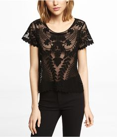 SHORT SLEEVE BAROQUE LACE TEE | Express