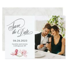 Pink Magnolias Photo Save the Date Card - invitations personalize custom special event invitation idea style party card cards