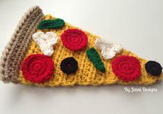 By Jenni Designs: Free Crochet Pattern: Pizza Slice & Toppings Form Crochet, Crochet Food, Crochet Kitchen, Cute Crochet, Crochet For Kids, Crochet Yarn, Crochet Patterns Amigurumi, Crochet Dolls, Yarn Projects