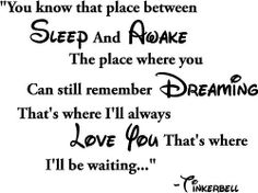 You know that place between sleep and awake The place where you can still remember dreaming That's where I'll always love you That's where I'll be waiting... Tinkerbell cute wall quotes sayings art vinyl wall decal by Epic Designs, http://www.amazon.com/dp/B0097U0LGM/ref=cm_sw_r_pi_dp_2ssdrb1GD3HDH