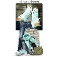 Always a dreamer - i love all of this except the puke green purse so let's make it a mint purse instead! :)