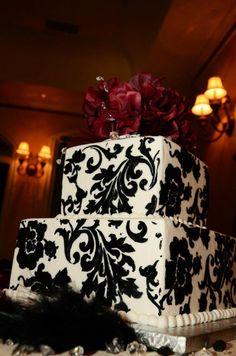 Black damask wedding cake  Wedding at Wildwood Inn, Denton TX  www.Denton-WildwoodInn.com  Photography By Karen Scruggs