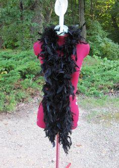 Black Feather Boa Scarf.